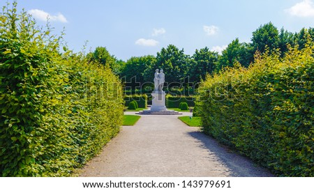 VIENNA, AUSTRIA - JUNE 17: Monument in the Schonbrunn Palace gardens on June, 17, 2013 in Vienna, Austria. It's a former imperial 1,441-room Rococo summer residence in modern Vienna, - stock photo