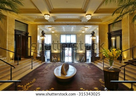 VIENNA, AUSTRIA -24 JUNE 2015- Opened in 2014 in a former bank located in the Golden Quarter in the city center, the Park Hyatt Vienna is the most luxurious hotel in Vienna.