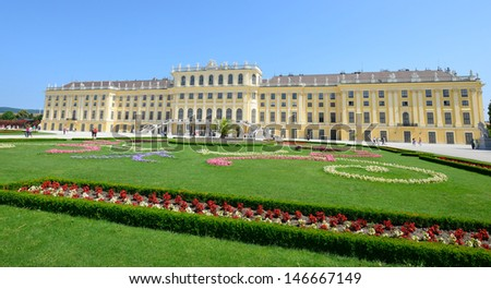 VIENNA / AUSTRIA - JUNE 22: Schonbrunn Palace and gardens on June, 22, 2013 in Vienna, Austria. One of the most important cultural monuments and one of the major tourist attractions in Vienna