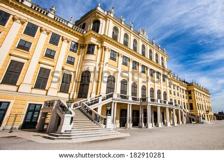 VIENNA, AUSTRIA - JUNE 17: Schonbrunn Palace on March, 20, 2014 in Vienna, Austria. It was a royal residence of Franz Joseph and Elisabeth