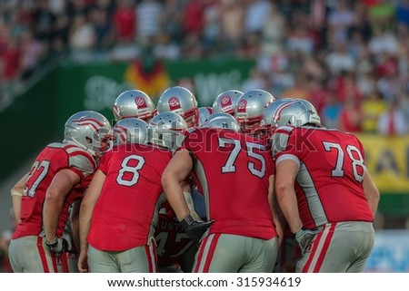 VIENNA, AUSTRIA - JUNE 7, 2014: Team Austria in the huddle during the final game against Germany. - stock photo
