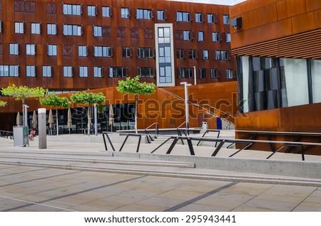 VIENNA, AUSTRIA, June 13, 2015: Vienna University of Economics and Business. Futuristic architecture designed by architect Zaha Hadid. Wirtschaftsuniversitat Wien or WU. Exterior campus details. - stock photo