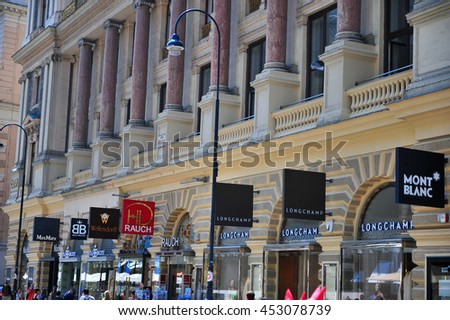 VIENNA, AUSTRIA - JUNE 6: View of Graben shopping street in downtown of Vienna on June 6, 2016. Vienna is the capital and largest city of Austria.