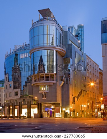VIENNA, AUSTRIA - JUNY 4, 2011: The modern building form st. Stephen square (Stephansplatz) at dusk.