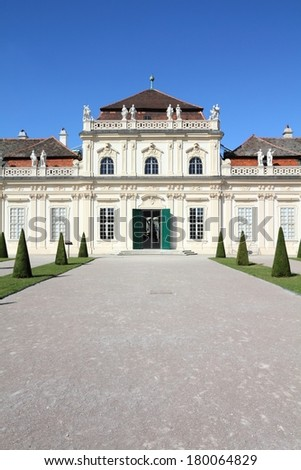 Vienna, Austria - Lower Belvedere Palace building. The Old Town is a UNESCO World Heritage Site. - stock photo