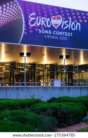 Vienna, Austria - Mai 05, 2015: the Wiener Stadthalle is prepared  for the Eurovision Song Contest 2015 on Mai 23, 2015.  European countries send their musical representative to this competition.