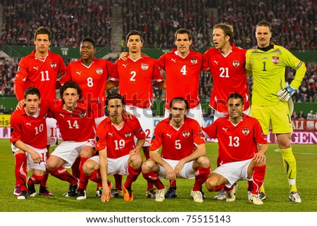 VIENNA,  AUSTRIA - MARCH 25: Austria loses to Belgium 0:2 in a qualifying match for EURO 2012 on March 25, 2011  in Vienna, Austria. Shown is the Austrian team before the match. - stock photo