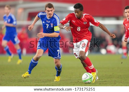 VIENNA, AUSTRIA - MARCH 22 David Alaba (#8 Austria) and Frodi Benjaminsen