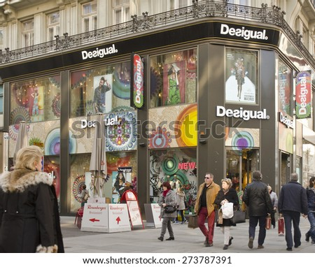VIENNA, AUSTRIA - MARCH 19: exterior of Desigual store on March 19, 2015 in Vienna, Austria. Desigual is a Spanish clothing retailer with over 3,500 employees worldwide. - stock photo