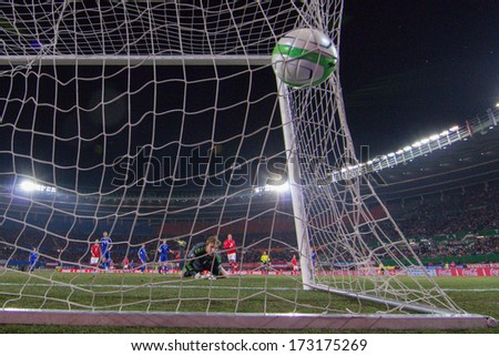 VIENNA,  AUSTRIA - MARCH 22 Gunnar Nielsen (#1 Faroe Islands) cannont stop the ball during the world cup qualifier game on March 22, 2013 in Vienna, Austria. - stock photo