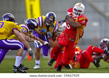 VIENNA, AUSTRIA - MARCH 28: RB Germaine Race (#3, Invaders) at Vienna Vikings beat St. Poelten Invaders in an AFL-season game 56-16 on March 28, 2010 in Vienna.