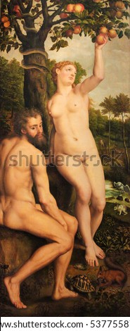 VIENNA, AUSTRIA - MAY 29, 2010: Altarpiece of Adam and Eve, the snake and the apple, representing the Original Sin and the Fall of Man.