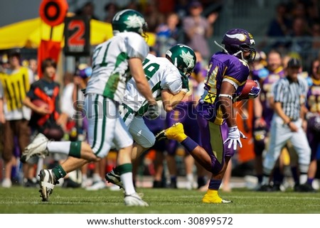 VIENNA,  AUSTRIA - MAY 10: Austrian Football League:  RB Chris James (#44, Vikings) and the Vienna Vikings lose to the Danube Dragons 24:27 on May 10, 2009 in Vienna, Austria.