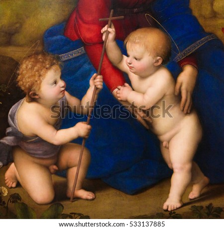 VIENNA, AUSTRIA - MAY 29, 2010: Detail depicting two angels in The Madonna of the Meadow (1505) created by Raphael.