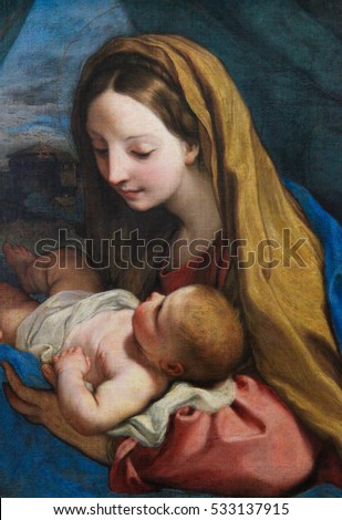 VIENNA, AUSTRIA - MAY 29, 2010: Painting (1660) depicting Mother Mary and Child Jesus