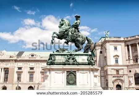 VIENNA, AUSTRIA - MAY 5: Prince Eugene's monument in Heldenplatz on May 5, 2014 in Vienna. Prince Eugene of Savoy was one of the most successful military commanders in modern European history. - stock photo
