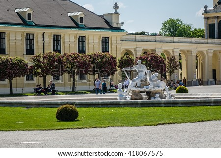 VIENNA, AUSTRIA - MAY 8, 2016: Schoenbrunn palace - former imperial summer residence, built and remodelled during reign of Empress Maria Theresa from 1743. Palace - most-visited attractions in Vienna.