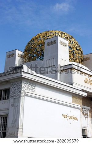 VIENNA, AUSTRIA - MAY 4, 2013: The detail of the golden globe on the Secession Building in Vienna. This secession pavilion serves as the Exhibition Hall for Contemporary Art. - stock photo