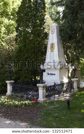 VIENNA, AUSTRIA - MAY 26: The tomb of Ludwig van Beethoven in central cemetery on May 26, 2009. it`s s one of the largest cemeteries in the world and most famous cemetery in Vienna. - stock photo