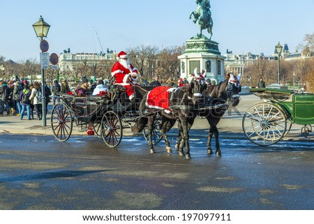 VIENNA, AUSTRIA - NOV 26: driver of the fiaker dressed as Santa Claus on November 26,2010 in Vienna, Austria. Since the 17th century, the horse-drawn carriages characterize Viennas cityscape. - stock photo