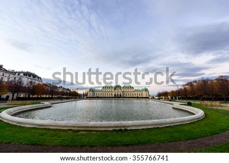 VIENNA, AUSTRIA - NOVEMBER 2015: Belvedere Palace at dusk