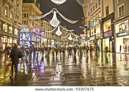 VIENNA, AUSTRIA - NOVEMBER 26: famous Graben street by night on November 26,2010 in Vienna, Austria. The Graben traces its origin back to the old Roman encampment of Vindobona.