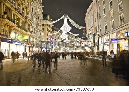 VIENNA, AUSTRIA - NOVEMBER 26: famous Graben street by night on November 26,2010 in Vienna, Austria. The Graben traces its origin back to the old Roman encampment of Vindobona. - stock photo