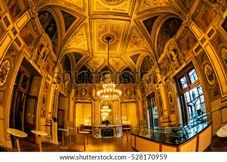 VIENNA, AUSTRIA - NOVEMBER 30, 2016: Interior of Vienna State Opera House. Wiener Staatsoper produces 50-70 operas and ballets in about 300 performances per year.