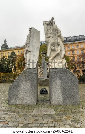 VIENNA, AUSTRIA - NOVEMBER 30, 2014: Memorial against War and Fascism. Created by Alfred Hrdlicka, it commemorates the victims of war, especially those killed during the NS regime and WW II. - stock photo