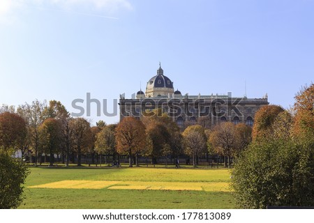 VIENNA, AUSTRIA - NOVEMBER 1: Picture of Volksgarten in Vienna during autumn, with  Naturhistorisches Museum in the background on November 1, 2013.