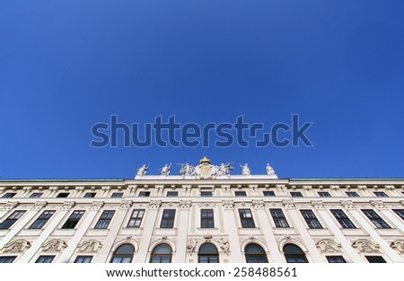 VIENNA, AUSTRIA - OCTOBER 10, 2014: Architectural decorations on Hofburg palace, Vienna; Austria. Hofburg was residence of Habsburg dynasty, rulers of Austro-Hungarian Empire. Vienna, Austria  - stock photo