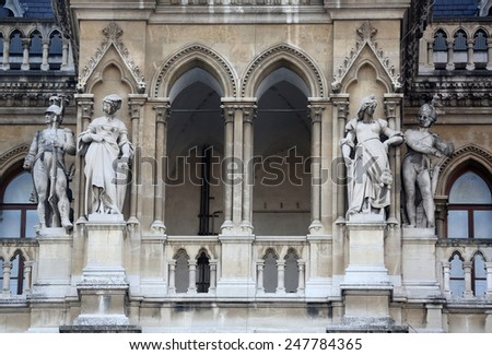 VIENNA, AUSTRIA - OCTOBER 10: Fragment of famous City Hall building (Rathaus) in Vienna. Vienna Old Town is a UNESCO World Heritage Site. Vienna, Austria on October 10, 2014. - stock photo
