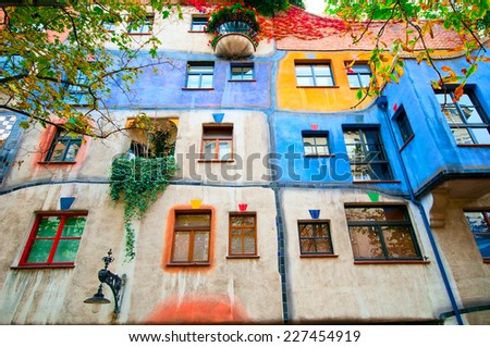 VIENNA, AUSTRIA - OCTOBER 10, 2014:  Hundertwasser Haus in Vienna, Austria. The iconic building was finished in 1985 and is one of finest examples of expressionist architecture.  - stock photo