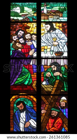 VIENNA, AUSTRIA - OCTOBER 10: Last supper, Stained glass in Votiv Kirche (The Votive Church). It is a neo-Gothic church in Vienna, Austria on October 10, 2014 - stock photo