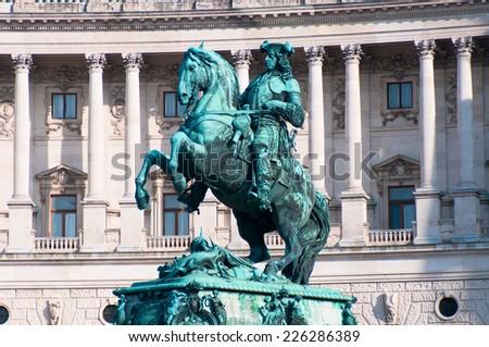 VIENNA, AUSTRIA - OCTOBER 12, 2014: Monument of the Prinz Eugen on Heldenplatz in Hofburg near to the Austrian national library. Vienna, Austria.  - stock photo