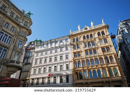 VIENNA, AUSTRIA - OCTOBER 17, 2008: Panoramic view of historic buildings on main shopping Graben Street in Vienna, Austria.