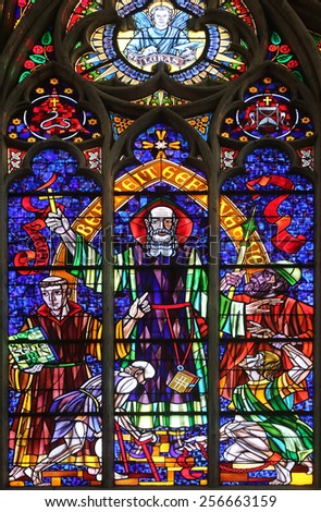 VIENNA, AUSTRIA - OCTOBER 10: St. Severin, Stained glass in Votiv Kirche (The Votive Church). It is a neo-Gothic church in Vienna, Austria on October 10, 2014 - stock photo