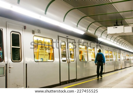 VIENNA, AUSTRIA - OCTOBER 10, 2014:  Subway train at Schwedenplatz station, Vienna, Austria. Station was opened in 15 August 1978 - stock photo