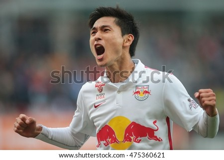 VIENNA, AUSTRIA - OCTOBER 4, 2015: Takumi Minamino (RB Salzburg) celebrates a goal in an Austrian Football League game.