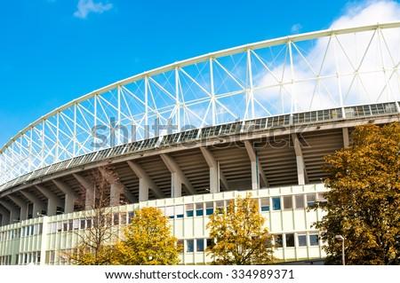 VIENNA, AUSTRIA - OCTOBER 12, 2015: The outside of Ernst Happel Stadium in Vienna, Austria - stock photo
