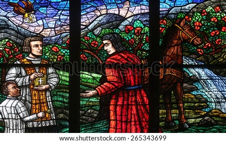 VIENNA, AUSTRIA - OCTOBER 11: Window dedicated to Rudolf I, Stained glass in Votiv Kirche (The Votive Church). It is a neo-Gothic church in Vienna, Austria on October 11, 2014 - stock photo