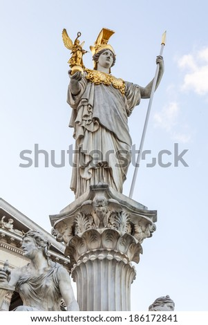 Vienna, Austria, on March 24, 2014. The sculpture decorating a complex of buildings of the Austrian Parliament