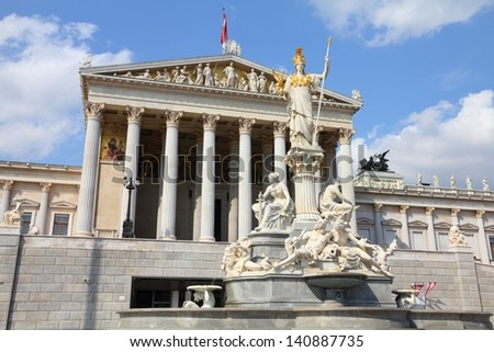 Vienna, Austria - Parliament of Austria. The Old Town is a UNESCO World Heritage Site.