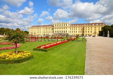 Vienna, Austria - Schoenbrunn Palace, a UNESCO World Heritage Site. - stock photo