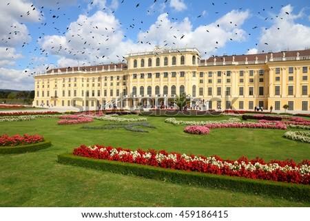 Vienna, Austria - Schoenbrunn Palace, a UNESCO World Heritage Site. Black birds over city. - stock photo