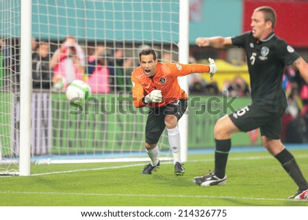 VIENNA, AUSTRIA - SEPTEMBER 10 David Forde (#1 Ireland) defends the goal at a World Cup Qualifying game on September 10, 2013 in Vienna, Austria. - stock photo