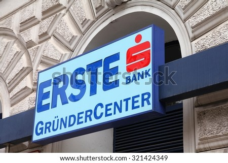 VIENNA, AUSTRIA - SEPTEMBER 7, 2011: Erste Bank branch in Vienna. The group founded in 1812 currently employs 50,272 people (end 2010) and posted 3.988 billion EUR operating income for 2010.