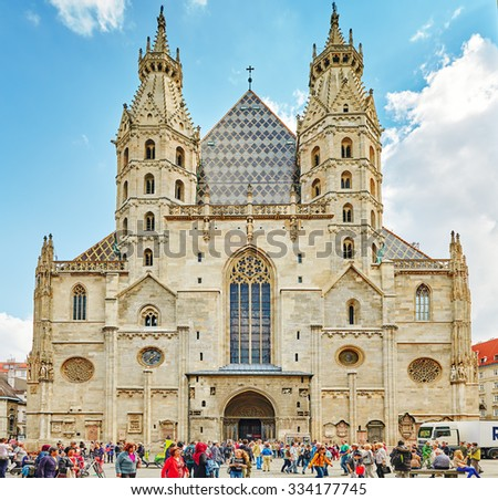 VIENNA, AUSTRIA-SEPTEMBER 10, 2015 : Facade of St. Stephen's Cathedral (more commonly known by its German title: Stephansdom) is the mother church of the Roman Catholic Archdiocese of Vienna. Austria. - stock photo