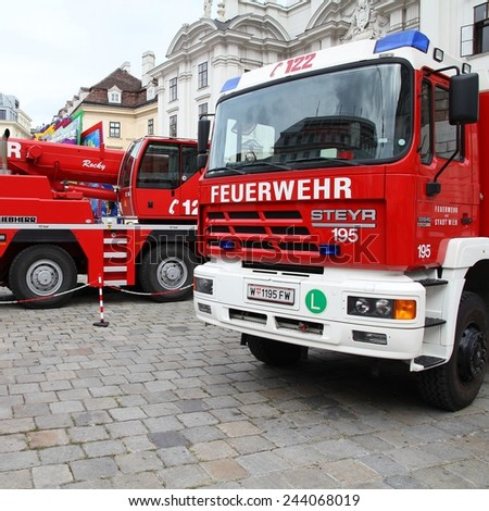 VIENNA, AUSTRIA - SEPTEMBER 8, 2011: Fire fighting vehicles in Vienna. On September 9-11, 2011 Feuerwehrfest (Fire Fighters Festival) took place in Vienna. - stock photo