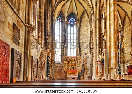 VIENNA, AUSTRIA-SEPTEMBER 10, 2015: Interior St. Stephen's Cathedral (Stephansdom) the mother church of the Roman Catholic Archdiocese of Vienna and the seat of the Archbishop of Vienna, Austria. - stock photo